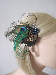 Image is loading Peacock-Pheasant-Feather-Fascinator-Hair-Clip-Ama-Blue- 30555d32b37