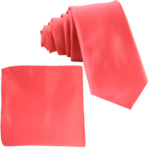 """New Polyester Men/'s 2.5/"""" Neck Tie /& hankie formal wedding prom party work CORAL"""