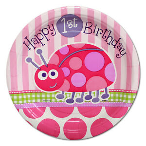 Image Is Loading 8 1st Birthday Ladybug Party Plates Girls First