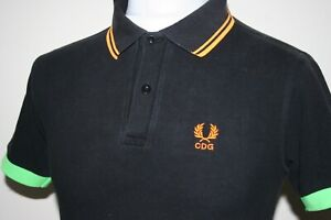 Fred-Perry-X-Comme-Des-Garcons-Cdg-Black-Twin-Tipped-Polo-Shirt-Xs-S-RARE-TOP