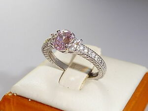 Ladies-Art-Deco-Design-Sterling-925-Silver-White-amp-Pink-Sapphire-Cocktail-Ring