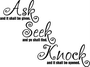 image is loading ask seek knock christian bible verse vinyl decal