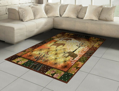 Africano algodón alfombra grunge elefantes Roses