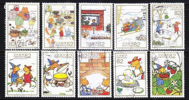 JAPAN 2014 EVOCATIVE MEMORY OF SEASONS (WINTER) ISSUE 4 COMP. SET 10 STAMPS USED