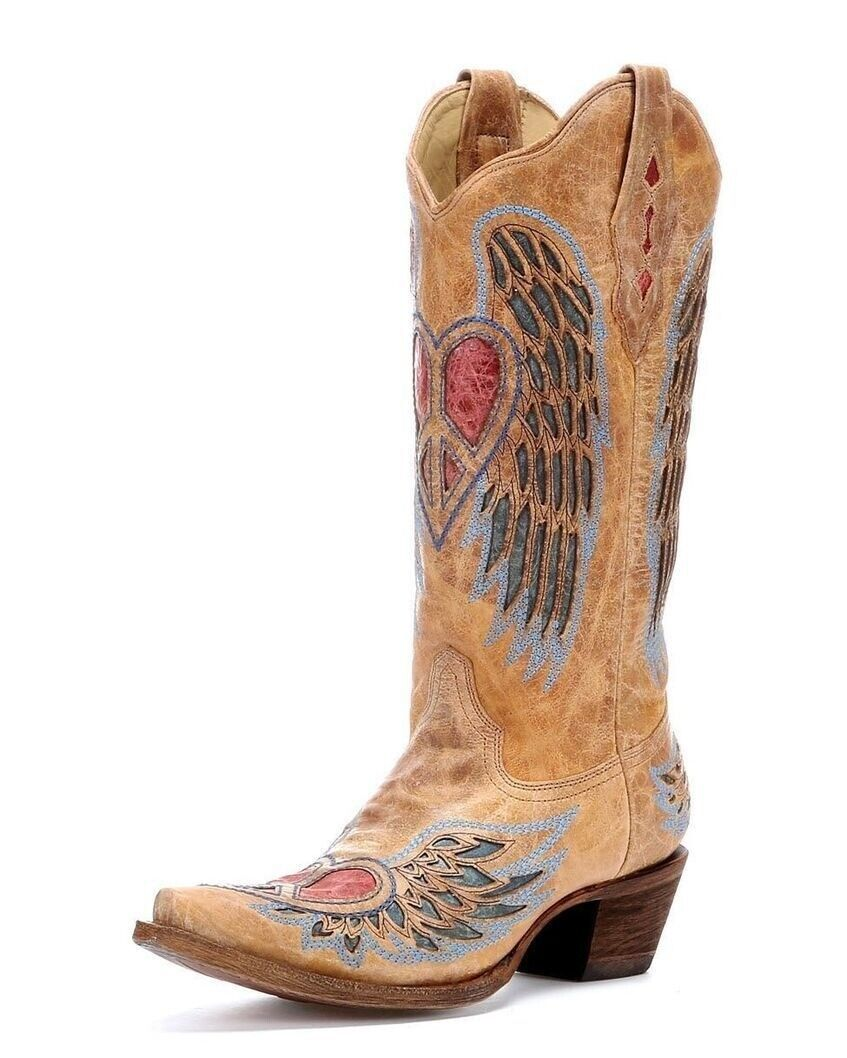 Corral Ladies Cowboy Western Boots Antique Saddle bluee Jean Wing & Heart A1976