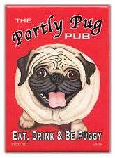 Retro Dogs Refrigerator Magnets: PUG | PORTLY PUG PUB | Vintage Advertising Art