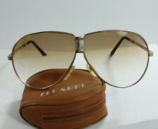Vintage 1980's Ferarri Folding Sunglasses Pouch Case Aviators Gold Metal Frame