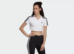 Detalles de Adidas Originals Camiseta Corta Mujer Camisas Blanco Manga  Lifestyle DV2620