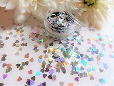 Nail Art Sparkle Holographic *Silver Hearts* Valentines Pot Spangles Glitter V1
