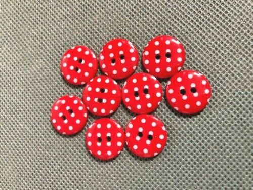 Red and white spotty buttons 15mm x 20  2 hole round