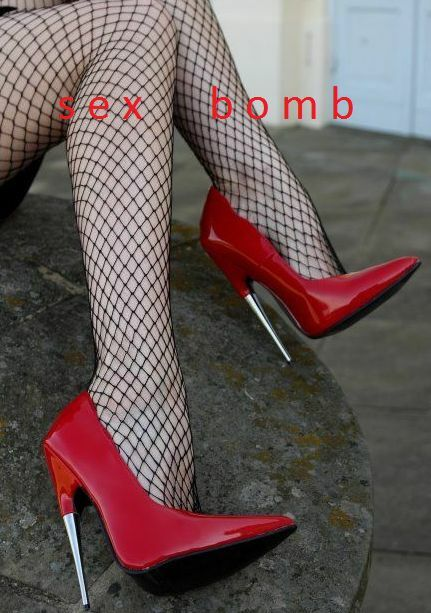 Sexy Red shoes Paint Extreme Fetish Scream Heel Metal 15 from 35 to 44