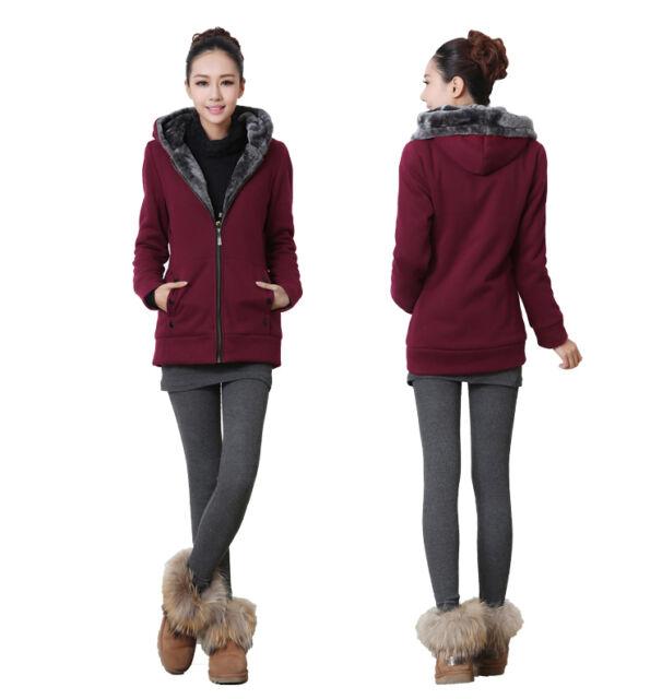 Korean Womens Zipper Thicken Winter Warm Hoodie Sweater Outerwear Jacket Coat