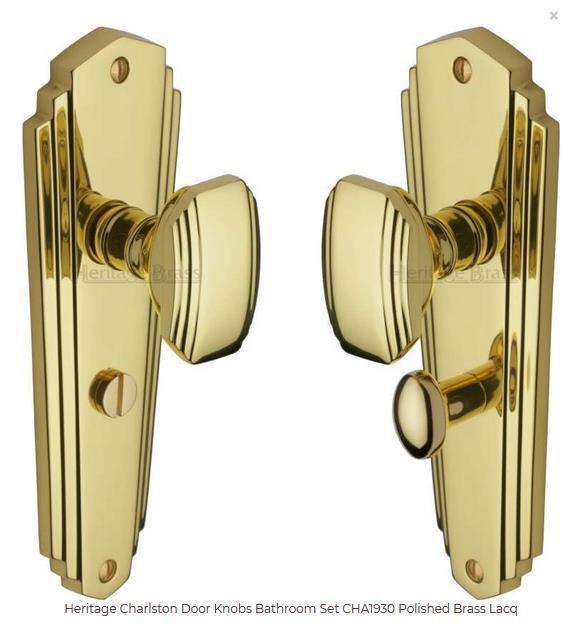 Heritage Brass CHA1930-PB Charlston Bathroom Door Handle Set of 2 Brass 20Hx6cmW