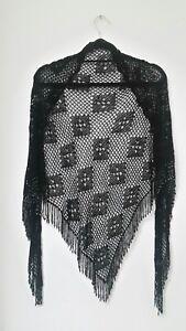 2019 Nouveau Style Femme Châle Taille L Sans Manches Triangulaire Crochet Pompons Perles Chic Noir-afficher Le Titre D'origine ExtrêMement Efficace Pour Conserver La Chaleur