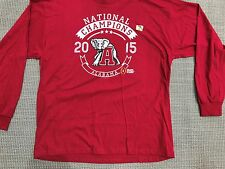 NCAA Alabama National Champions Football 2015 Red Long Sleeve Shirt 2XL (R224)