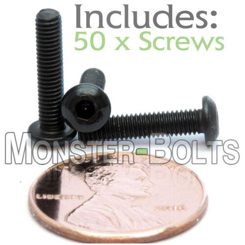 M3 x 14mm Qty 50 BUTTON HEAD Socket Cap Screws Alloy Steel 12.9 Black Oxide