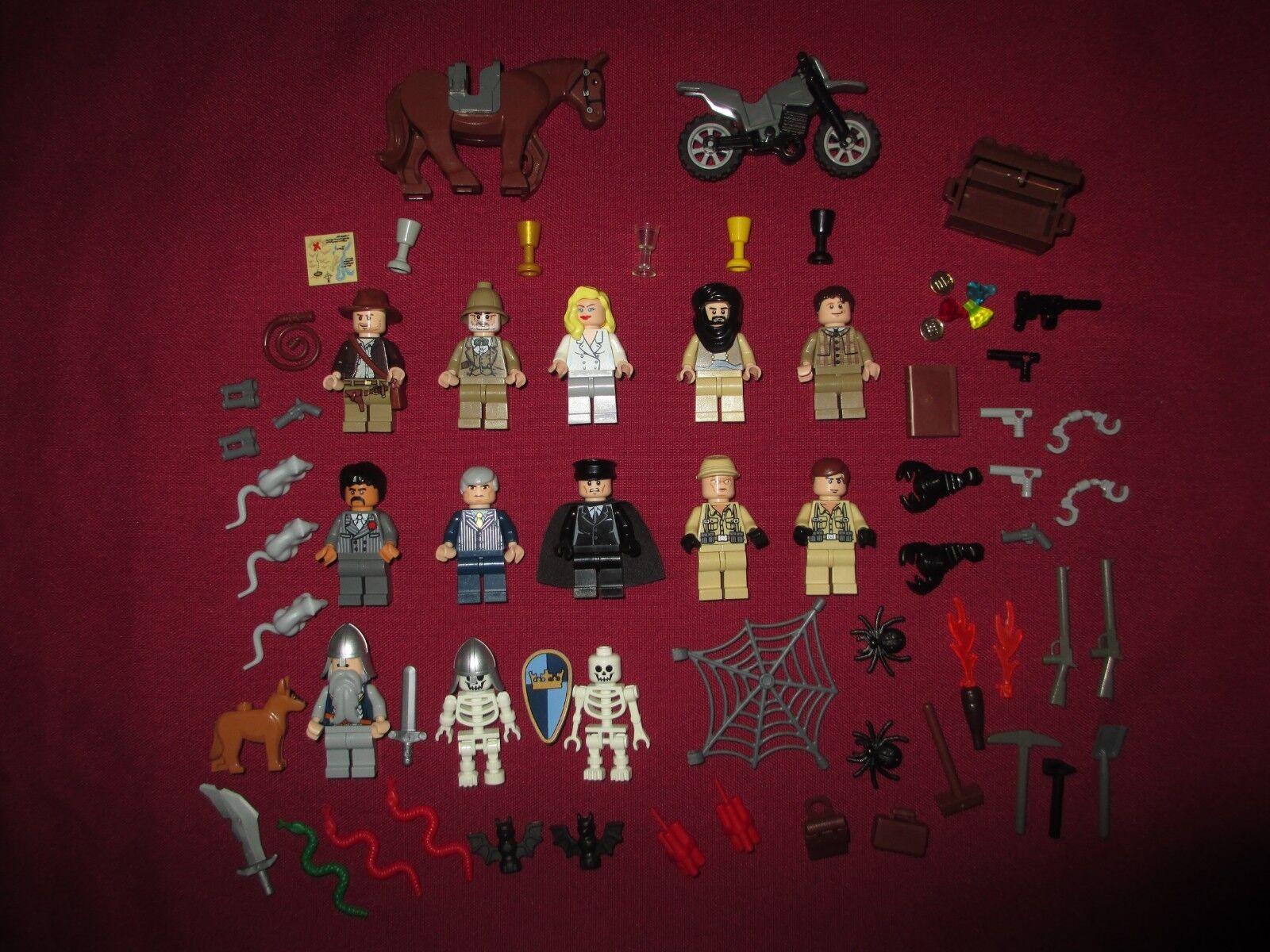 LEGO Indiana Jones Minifigures Lot,The Last Crusade 13 Figures & Accessories