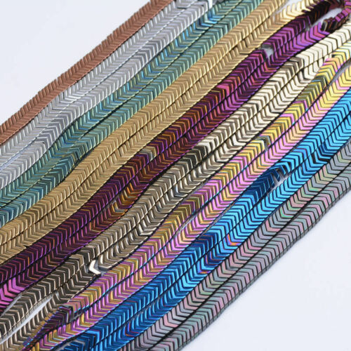 Hematite Gemstone V ARROW Charm Bracelet Spacer Beads Earring Findings 6//7MM