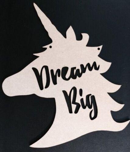 "Testa Dream Big /""forme Abbellimenti MDF Craft Laser Cut Unicorno"