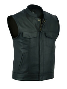 Mens Top Quality Motorcycle Biker Sons of Anarchy Genuine Leather Waistcoat Vest