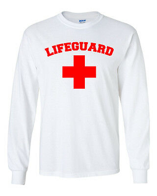 LIFEGUARD- WHITE LONG SLEEVE T-SHIRT-ALL SIZES AVAILABLE
