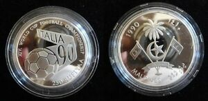 1990 Maldives Large Proof Silver Soccer World Cup 250 r