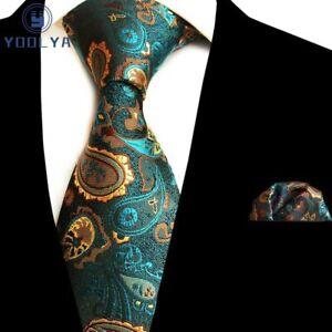 New Polyester Woven Men/'s neck tie /& hankie set paisley pattern blue formal