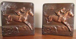 Vintage-HORSE-amp-RIDER-STEEPLECHASE-BOOKENDS-Copper-Overlay-Arts-amp-Crafts