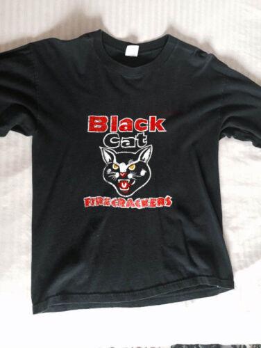 """T shirt REPRINT untru Vintage rare 1980/'s /""""Black Cat Firework*s/"""" /""""Firecracker*s"""
