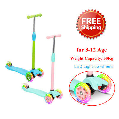 Easy to Assemble Lean to Steer Handlebar Toddler Scooter for Kids Boys Girls Ages 2-7 Years Old 3 Wheel Kick Scooter with Light Up Wheels Adjustable Height
