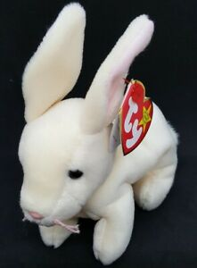 TY 1999 NIBBLER the RABBIT BEANIE BABY - MINT with MINT TAGS