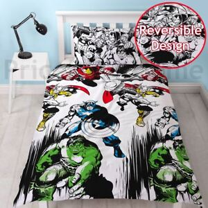 Marvel-Bd-Court-Set-Housse-de-Couette-Simple-Iron-Man-Hulk-2-IN-1-Design