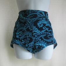 XL Popina Swim Boy Short High Waist Foldover Swimsuit Bottom Retro Paisley New