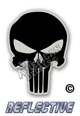"""Reflective Decal Sticker BLACK 3 Percent Punisher Decal SKULL 5/"""" in"""