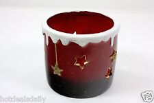 RED CUP SNOW ORNAMENT PROCELAIN VOTIVE HOLDER HAND PAINTED HOLIDAY CHRISTMAS