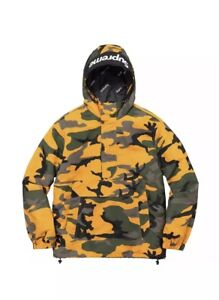c942a7e23501 Supreme FW17 Hooded Logo Half Zip Pullover Jacket Men s Yellow Camo ...