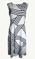 Ex M&S Ladies Ivory & Black Lined Knee Length Summer Everyday Dress Size 10-22