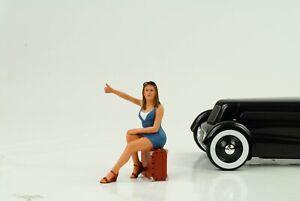 70-S-Cool-Girl-Figurine-Autostop-Course-1-18-American-Diorama-I-N-Car