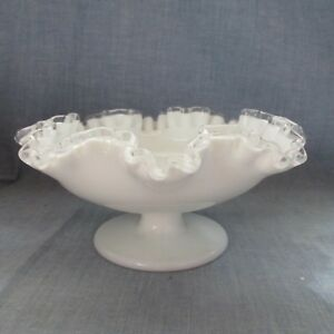 """Art Glass North American Reliable Fenton Milk Glass Silver Crest Footed 7"""" Bowl Good For Antipyretic And Throat Soother"""