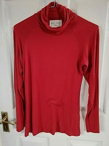 ZARA-pour-femme-Rouge-Ecarlate-a-Manches-Longues-Haut-Taille-8-M-col-Polo-Pit-a-fosse-17-in-environ