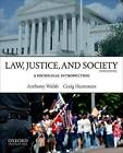 Law, Justice, and Society: A Sociolegal Introduction by Professor of Criminal Justice Anthony Walsh, Chair and Professor in the Department of Criminal Justice and Criminology Craig Hemmens (Paperback / softback, 2013)