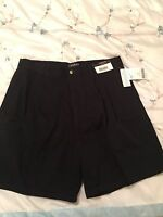 Trader Bay Men's 100% Cotton Black Pleated Shorts Size 36