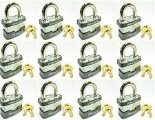 Lock Set by Master 1KA (Lot of 12) KEYED ALIKE Identical Same Laminated Padlocks
