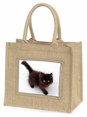 Schokolade schwarz Kätzchen Große natürliche jute-einkaufstasche
