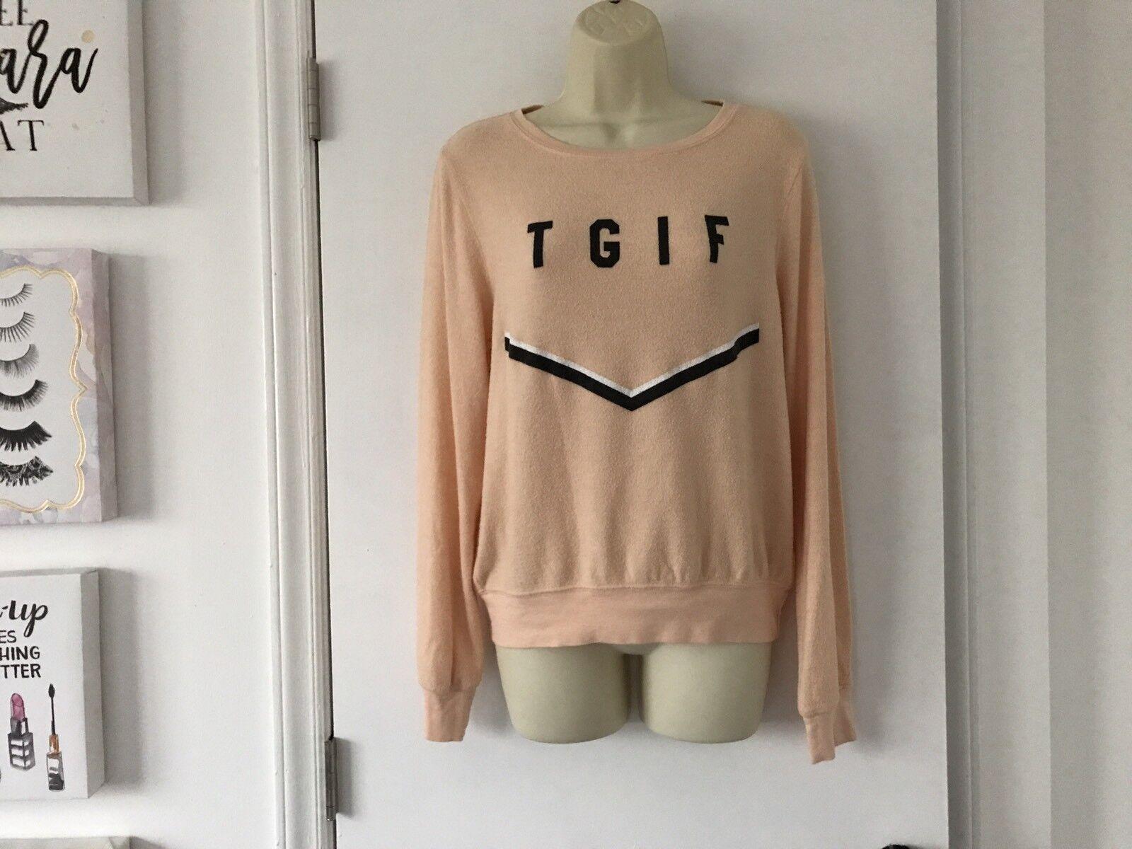 NWT Wildfox Peach TGIF tröja Sweatshirt X -små XS BBJ väskagy strand Jumper