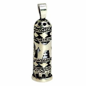 Silver 925 Mezuzah & Shema Israel Scroll CHAI LIFE Israel Judaica Necklace