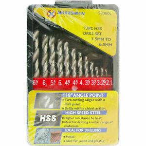 HSS-DRILL-BITS-13PC-1-5MM-6-5MM-TITANIUM-SET-CASE-QUALITY-METAL-WOOD-PLASTIC