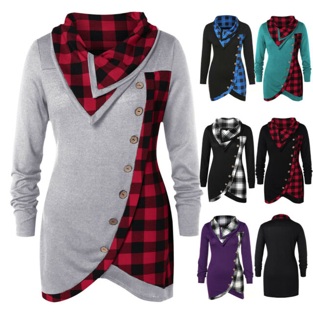 Women Plaid Cowl Neck Hoodie Tunic Sweatshirt Jumper Sweater Pullover Plus Sizes