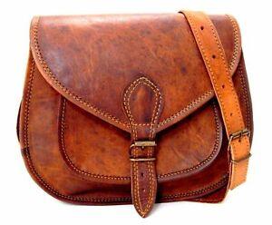 Womens-Vintage-Genuine-Brown-Leather-Messenger-Shoulder-Cross-Body-Bag