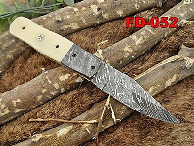 "Damasco Acero 7.5"" Cuchillo Plegable Sporting Goods Camello Hueso Damasco Collarín Cuero Funda Attractive And Durable"
